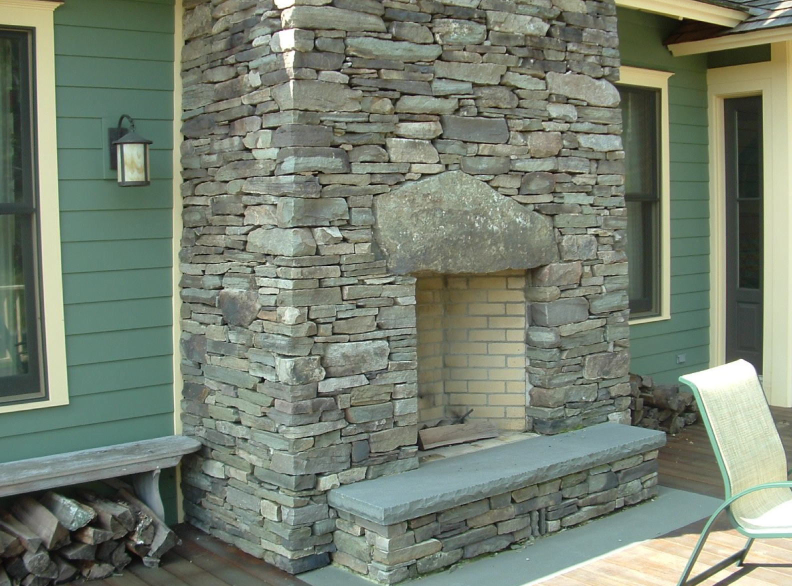 Natural Fieldstone Fireplace
